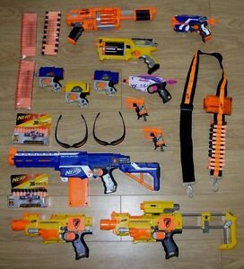 Nerf Bundle Lot Guns Blasters Bullets Darts Bandolier Glasses  Great Condition - <span itemprop=availableAtOrFrom>Clydebank, United Kingdom</span> - Nerf Bundle Lot Guns Blasters Bullets Darts Bandolier Glasses  Great Condition - Clydebank, United Kingdom