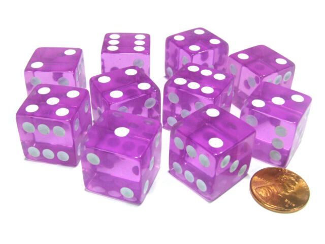 Set of 10 Six Sided D6 16mm Standard Dice Pink by Koplow Games