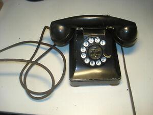 VINTAGE-WESTERN-ELECTRIC-BLACK-ROTARY-TELEPHONE-DESK-PHONE-MODEL-302-METAL-CASE