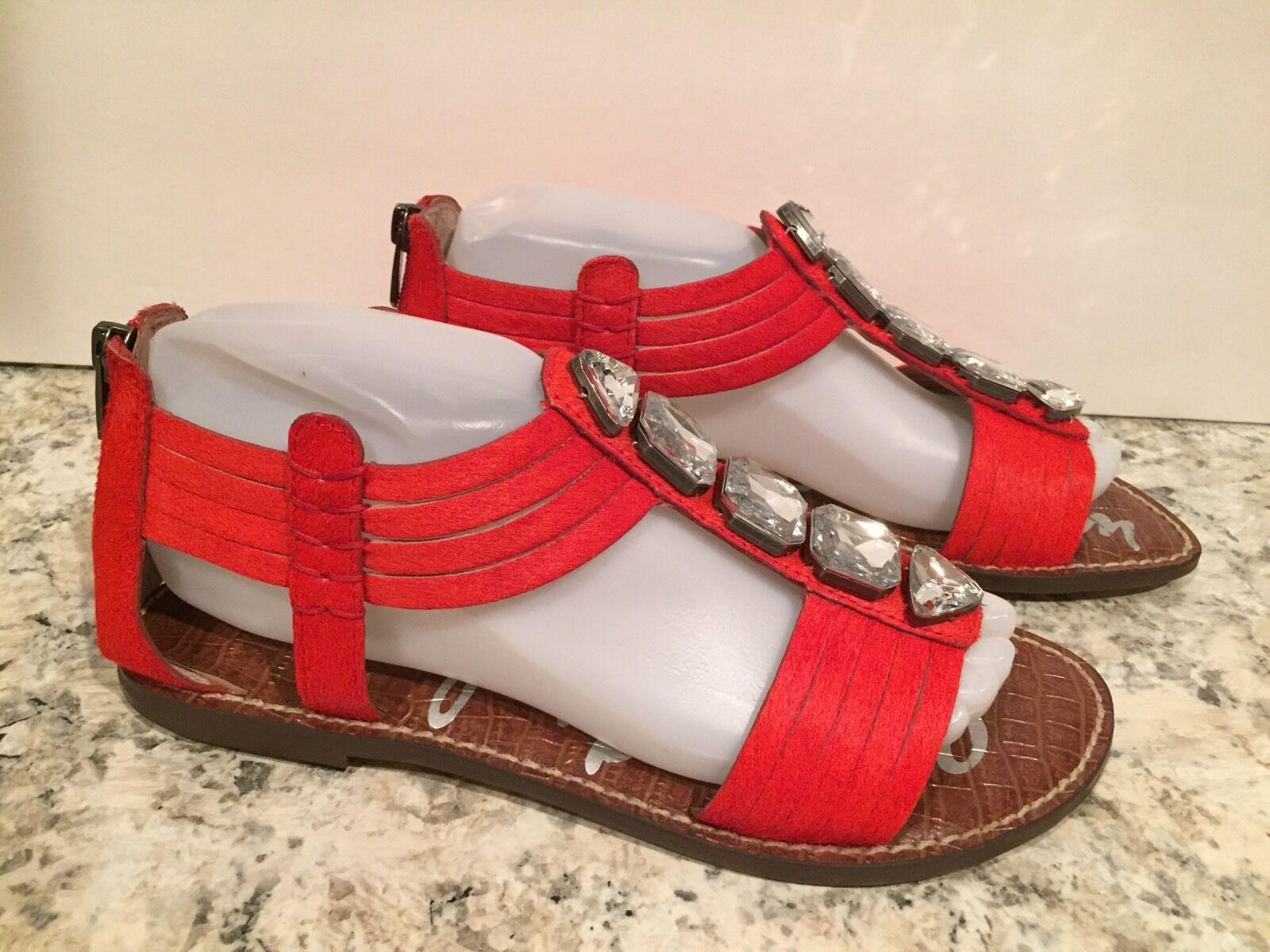 Sam Edelman Galina Sandals T-strap Jewelry Calf Hair Red-orange 8 M  150 New