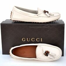 GUCCI New sz 36.5 G - 7 Designer Womens Bamboo Drivers Flats Shoes mystic white
