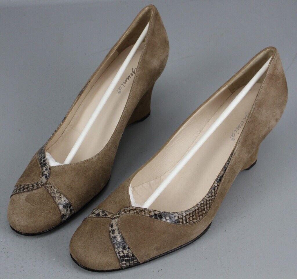 Gennia Pumps Braun Gr. 42 Keilabsatz Schuhe Leder Schlangenleder-Optik KR6-R13