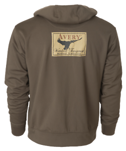 Avery-Logo-Wildfowlers-Pigeon-shooters-Marsh-Brown-Hoodie-Size-3XL