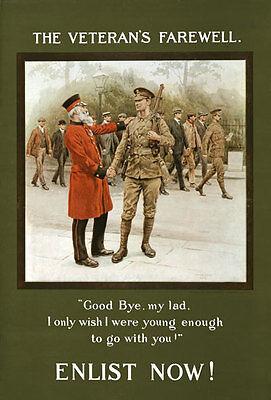 W94 Vintage Wwi British veterano de despedida de gozar de Guerra del Ejército Cartel Ww1 A1 A2 A3