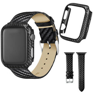 Slim Carbon Fiber Protect Case Leather Strap For Apple Watch Series 5 4 3 2 Band Ebay