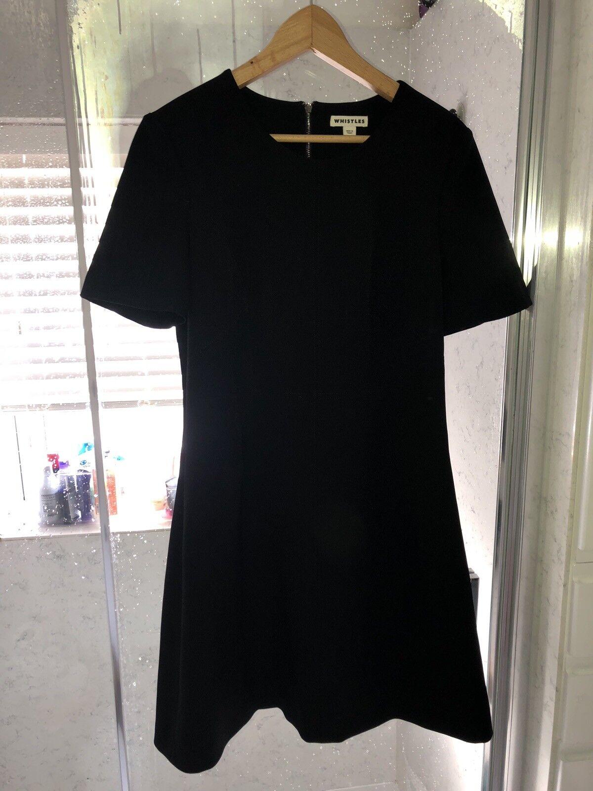 WHISTLES Petite Robe Noire LBD Ajustée UK 14 fête de Noël