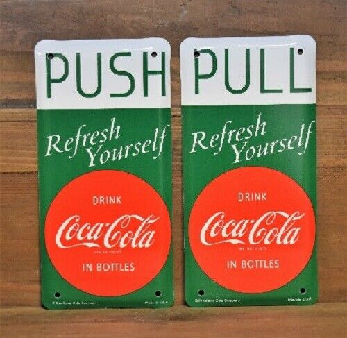 Vintage Style Coca-Cola Push Pull Plates 2pc Set Red  Disc Sign