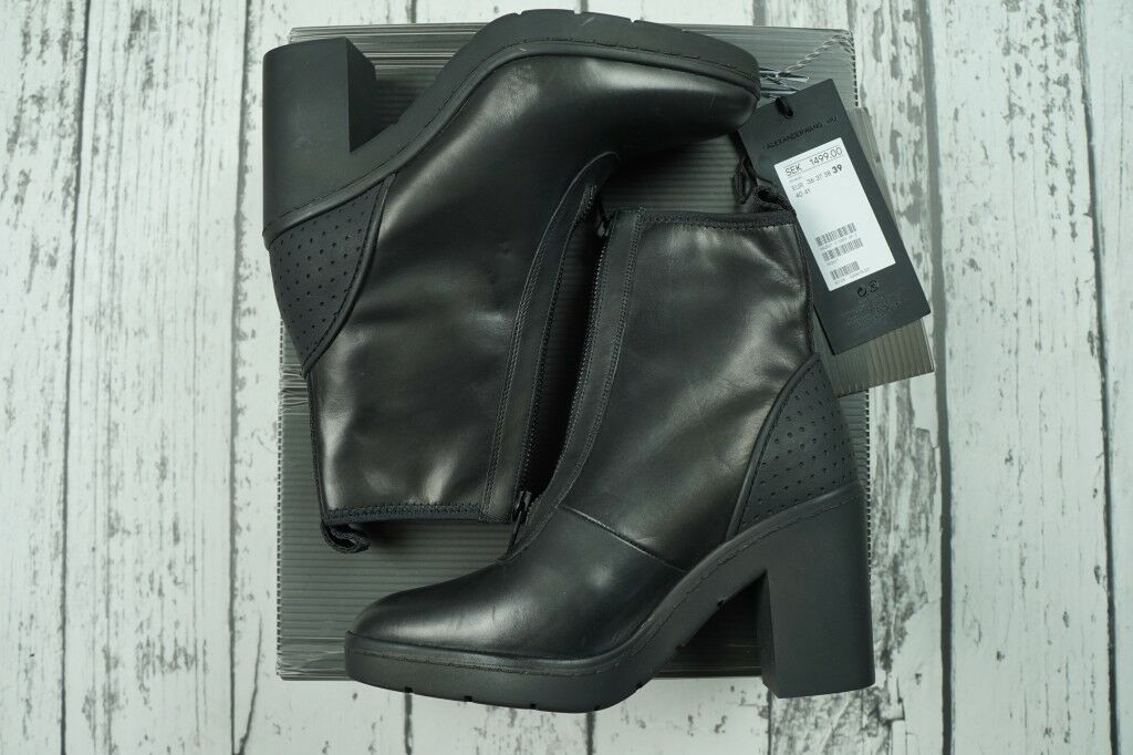 ALEXANDER WANG FOR H&M BIKER noir LEATHER bottes Taille EU EU EU 39   US 8   CN245 92e4b2