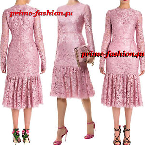 589803c2 Image is loading Dolce-amp-Gabbana-Pink-Floral-Guipure-Lace-Flounce-