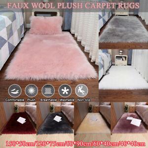 Large Fluffy Plain Faux Sheepskin Rug Soft Faux Fur Shaggy Area Rugs Room Mats