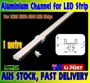 1m Aluminium Channel Profile Bar Diffuser Track for LED Strip Lights Cabinet