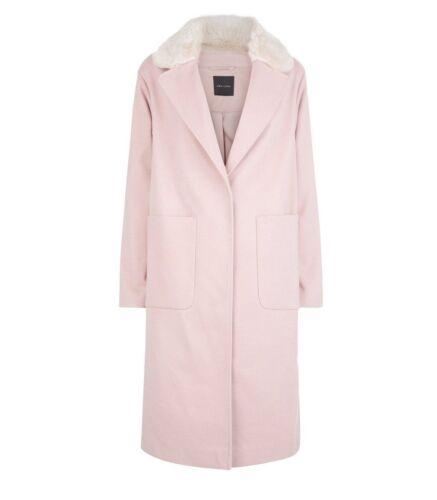 Shell New Longline Collar Coat Fur Size Pink Look 10 Faux 7AqT7r