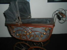 Antique Vintage Victorian Doll Carriage Buggy Stroller Wicker Wood & Metal