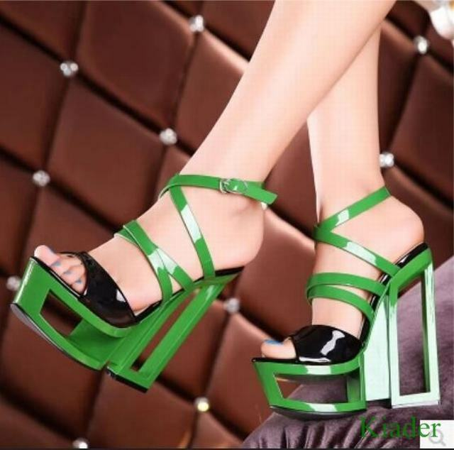 Sexy Women Wedge High Heels Sandals Ankle Strappy Buckle Platform Clubwear shoes