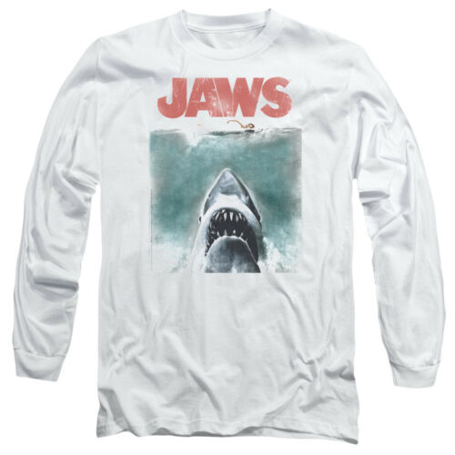 Jaws Movie VINTAGE POSTER Distressed Adult Long Sleeve T-Shirt S-3XL