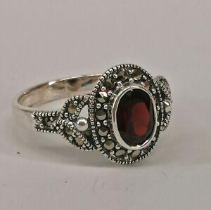 9927868 925er Silber Granat-Markasit-Ring Gr.58  Vintage