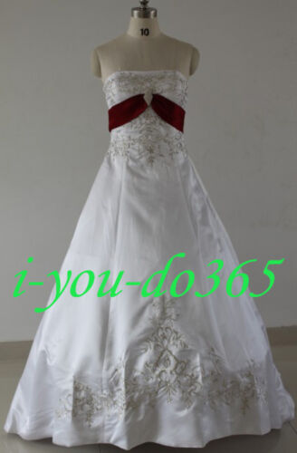 STOCK White And Red Wedding Evening dress Bridal Gowns Size UK 6 8 10 12 14 16
