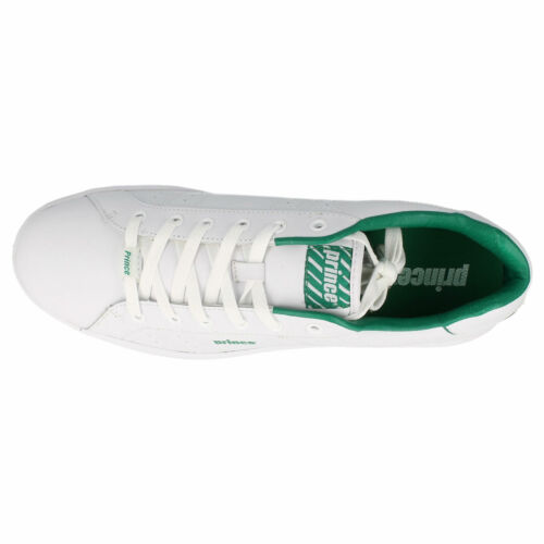 Prince Classic Men/'s White//Green Lace Up Casual Trainers R34A Kett