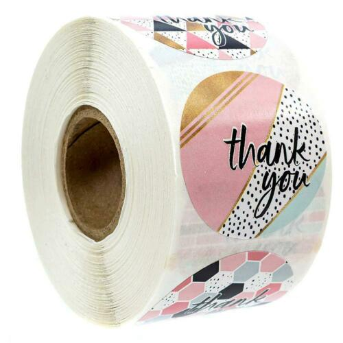500 x Thank You Stickers For Your Purchase Business Labels Round Heart Wedding