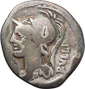 Roman-Republic-Servilius-Rullus-100BC-Ancient-Silver-Coin-Minerva-Horse-i45463