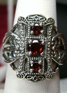 Natural Red Garnet Sterling Silver Edwardian Filigree Ring Size {Made To Order}