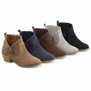 08e36c86bb Image is loading Brinley-Co-Womens-Perforated-Faux-Suede-Stacked-Heel-