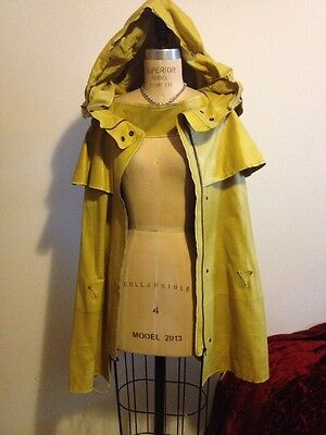 Olivier Theyskens Yellow Leather Cape Hood Vintage Collectible Runway Sz 38