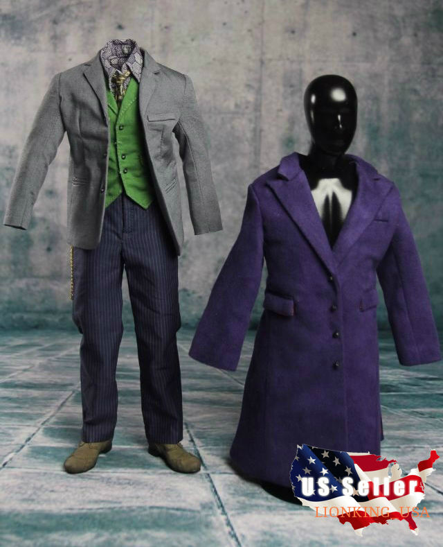 1/6 Joker Heath Ledger Costume Suit 2.0 Batman For DX01 DX11 Hot Toys set USA
