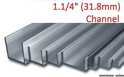 "2500mm ALUMINIUM CHANNEL U  PROFILE 3//4/"" Lengths 100mm 4 variations 19.0mm"