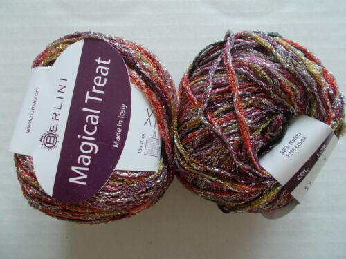 109 yds ea lot of 2 Fantasy Berlini Magical Treat sparkly metallic yarn