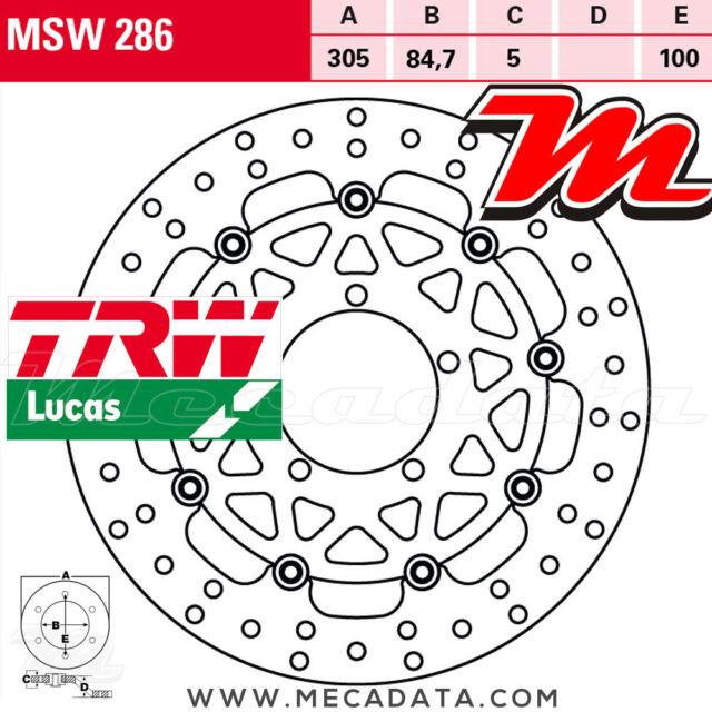 Disque de frein Avant TRW MSW 286 Triumph 800 Tiger XR,XRT,XRX, ABS (A08) 2015+