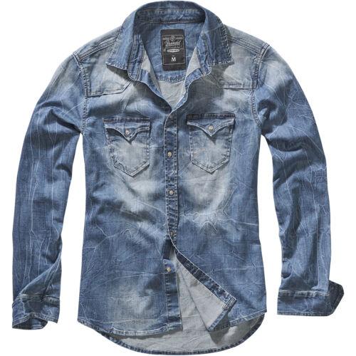 Brandit Riley Denim Shirt Mens Top Long Sleeve Travel Work Fashion Jacket Blue