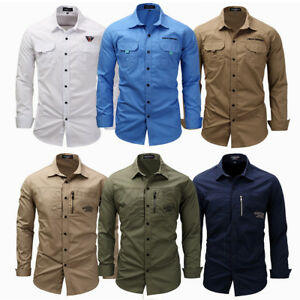 Men-039-s-Casual-Formal-Dress-Shirt-Long-Sleeve-Military-Army-Tactical-Cotton-Tops