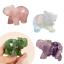 Hand Carved Natural Green Pink Crystal Jade Stone Craving Elephant Desk Decor