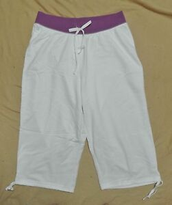 Plus JMS Just My Size French Terry Capri Pants White 1X NEW