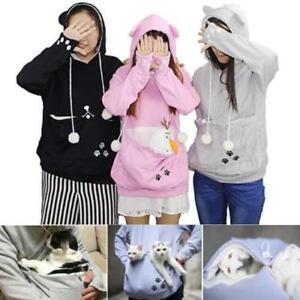 Women-039-s-Kangaroo-Pet-Dog-Cat-Holder-Carrier-Coat-Pouch-Large-Pocket-Hoodie-Tops