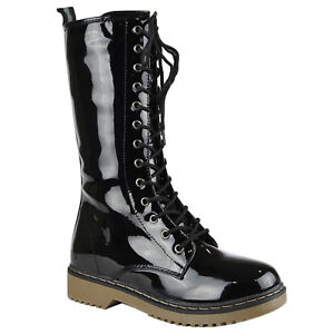 Womens Patent Leather Lace Up Mid Calf Combat Boots Black Size 5.5-10