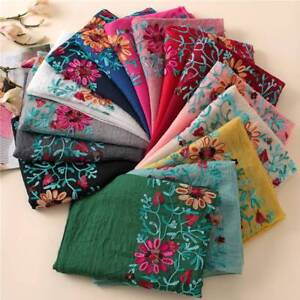 Embroidered-Floral-Scarf-Shawl-From-Indian-Bandana-Print-Cotton-Scarves-Wraps
