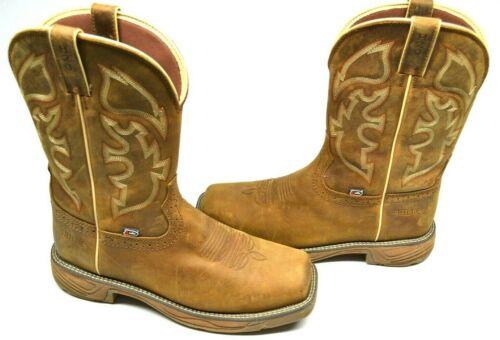 Justin Mens Stampede Rush Waterproof Western Work Boot Steel Toe Tan 10 D