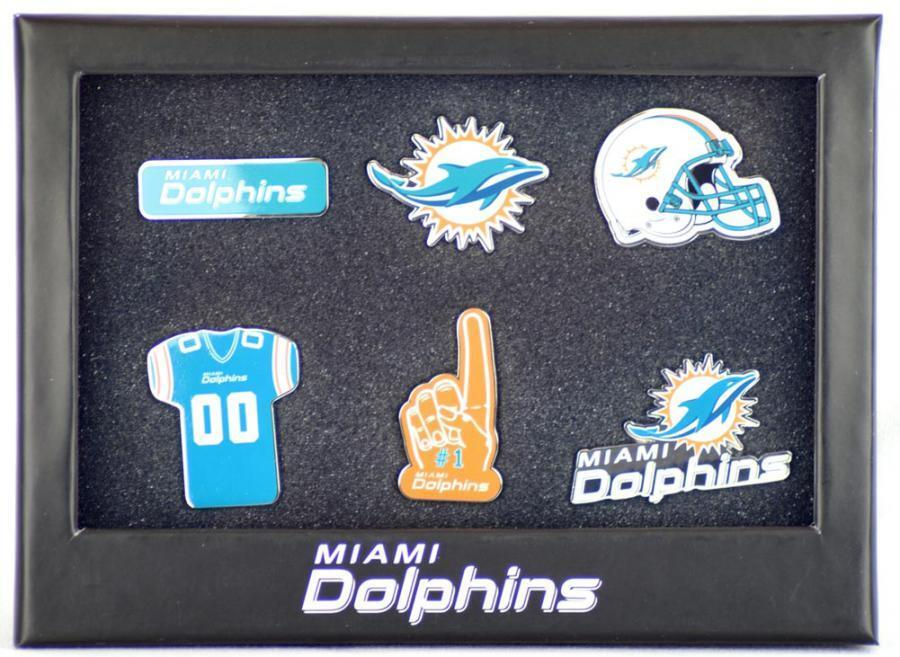Forever collectibles miami dolphins 6 piece brooch badge lot nfl pin new
