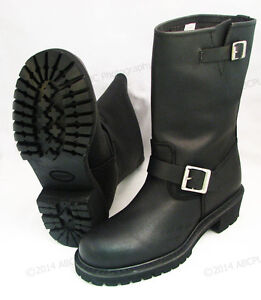 Men-039-s-Engineer-Boots-Motorcycle-Biker-Full-Grain-Black-Leather-Riding-Sizes-NIB