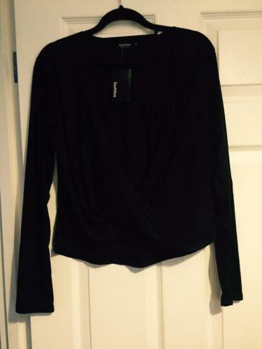WOMENS LONG SLEEVE BLACK CROPED CROSS OVER FRONT DETAIL SIZE 14 STRETCH NEW