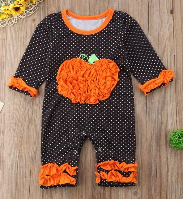 NWT Pumpkin Baby Girls Black Polka Dot Ruffle Halloween Romper Jumpsuit