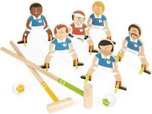 Janod-Football-Champions-Children-039-s-Wooden-Croquet-Set-freestanding