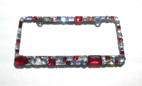 Chunky Mix Red with AB and Clear Crystal Rhinestone License Plate Frame Bling