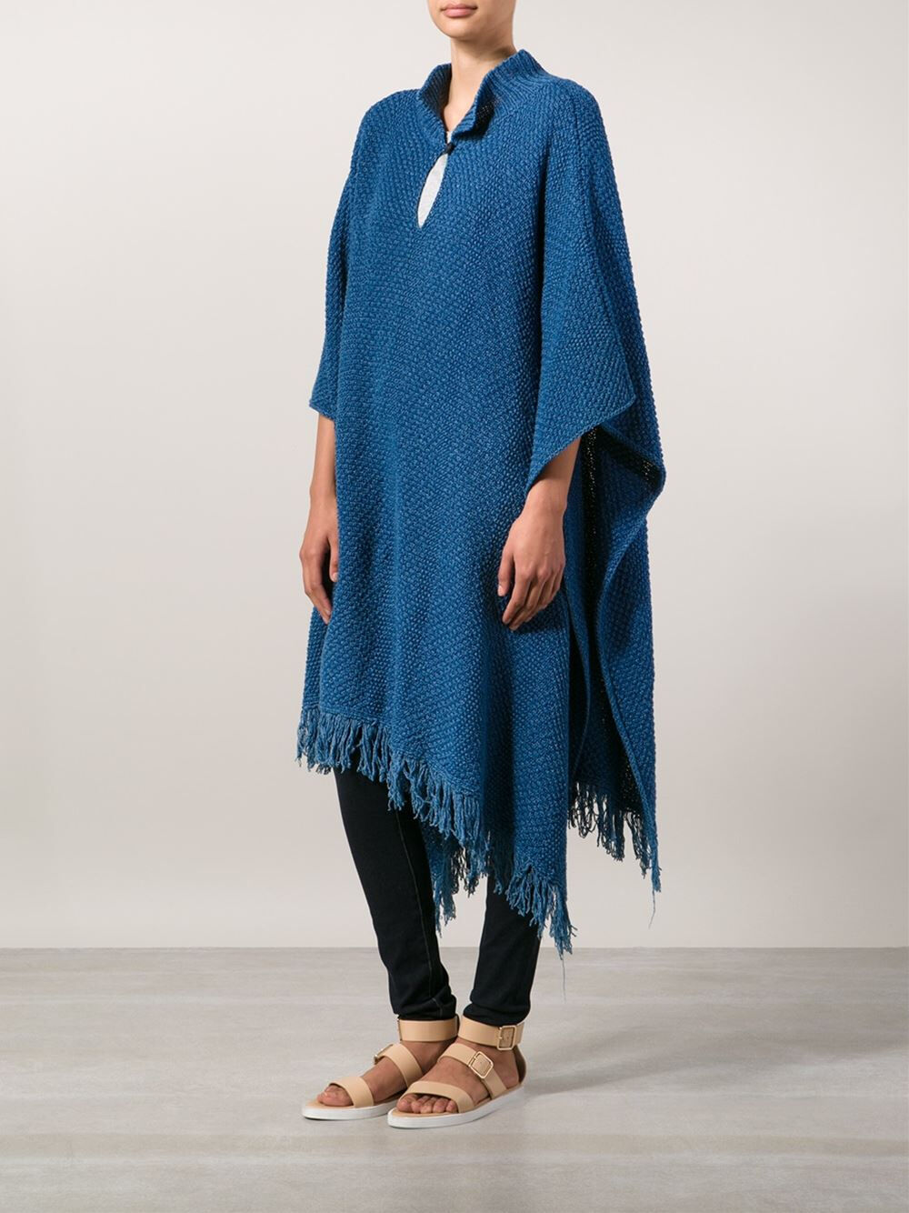 NEW RYAN ROCHE    736 Denim bluee Cotton Knit Aspen Shakti Shala Poncho Coat 027676