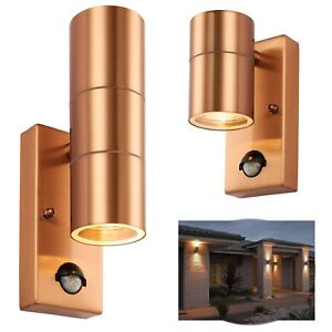 En-Dehors-d-039-Entree-Murale-Garage-PIR-Securite-Capteur-Up-Down-Lanterne-Cuivre