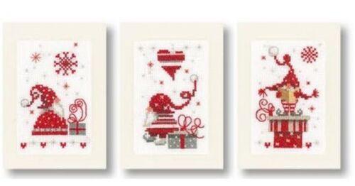 Vervaco Weihnachtskarte Stickset Kreuzstich 3 Wichtel KKPN0165989