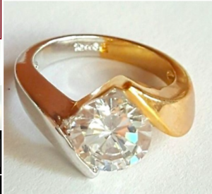 Ladies Silver Gold Plated Solitaire  Ring Size 4.5 9.5 10 Cubic Zirconia