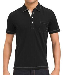 Billy-Reid-Men-039-s-Short-Sleeve-Pensacola-Solid-Pocket-Polo-Cotton-Shirt-Black